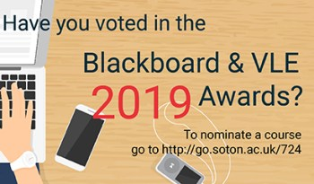 Postcard saying 'Have you voted in the Blackboard & VLE Awards 2019? There is a graphic of a hand on a laptop next to a phone.