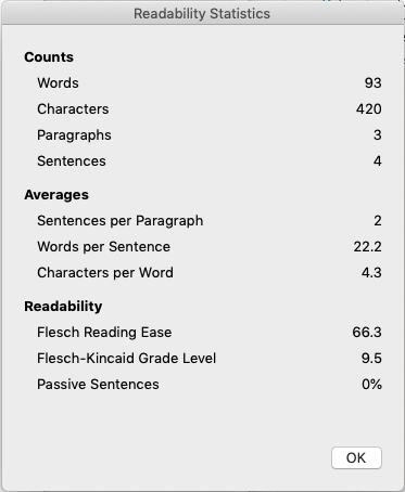Screenshot of teh Readability score of a Word document.