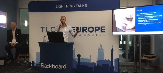 Sam Cole presenting at Blackboard Teaching and Learning Conference (BBTLC) Europe, with Matt Deeprose sitting alongside him.