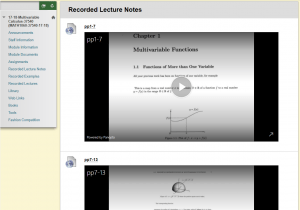 Screenshot of recorded lecture notes from Multivariable Calculus Blackboard site