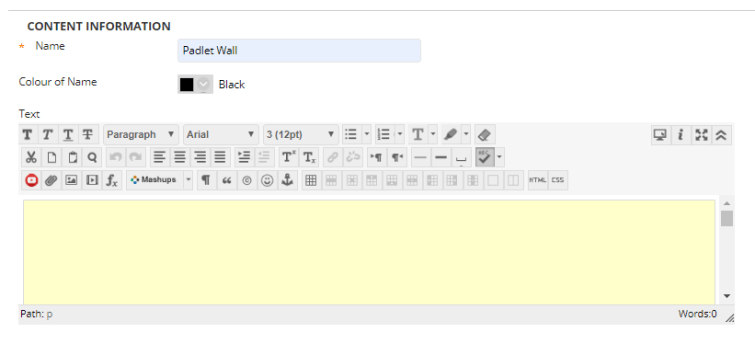 The Blackboard editing dashboard, showing a large yellow box in the text window.