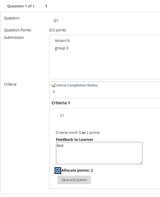 An example screenshot of a student completing an evaluation.