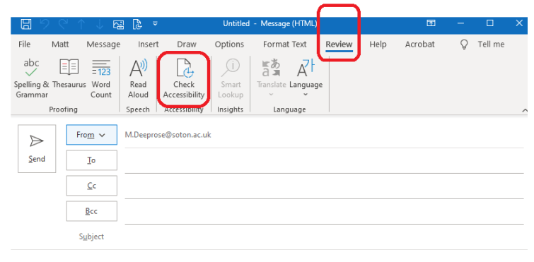 Screenshot where the Review tab and Check Accessibility button are highlighted when composing an Outlook email.
