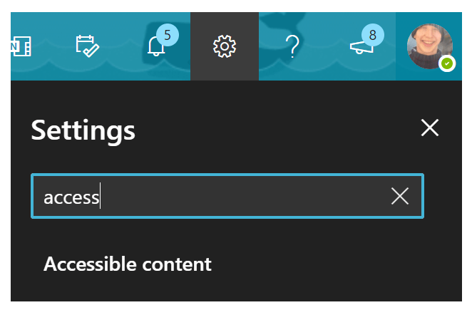 """Screenshot taken of outlook web based email.  The word """"access"""" has been entered in the Search box, and has returned an option labelled Accessible Content."""