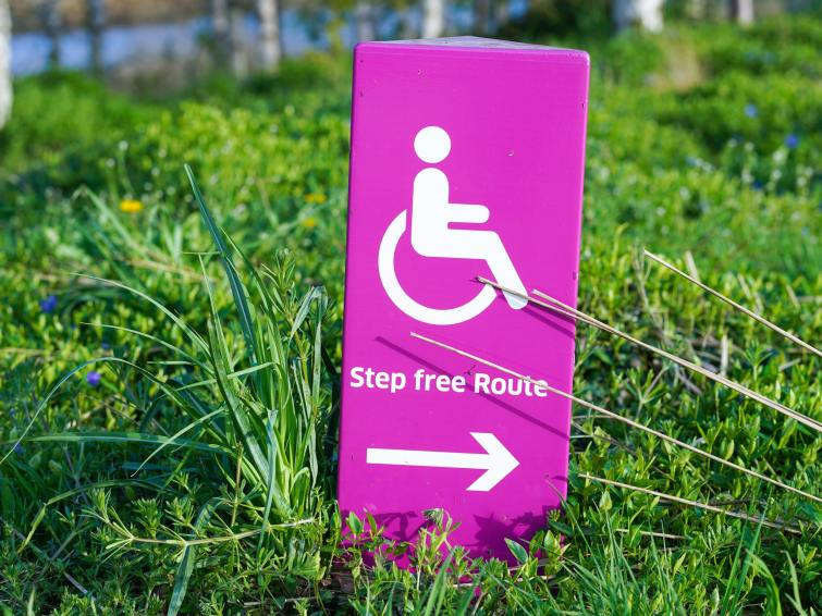 A purple sign on green grass. A wheelchair user sign is displayed with the words Step Free Route, and an arrow pointing right.