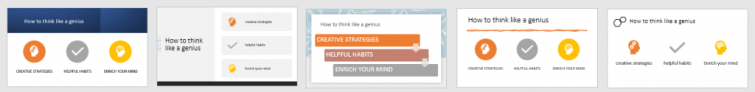 """Each slide has the same content on the topic of """"how to think like a genius"""". Almost every slide idea generated has changed the text to be shown in all caps."""