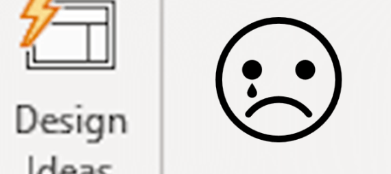 The design ideas icon beside an crying face emoji