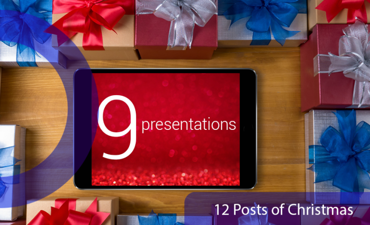 12 posts of Christmas: 9 presentations. An iPad surrounded by presents to represent Panopto presentations.