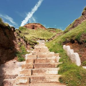 View looking up steep wooden steps in cliffside