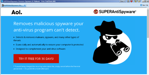AOL offers Super Antispyware, free software, for $4/mo.