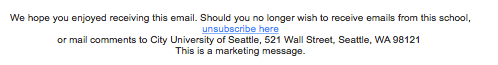Example of unsubscribe text