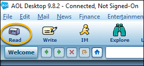 AOL Desktop read mail icon