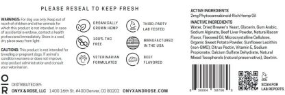 Slow Your Wag CBD Dog Treats by Onyx & Rose label