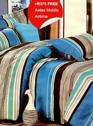 Queen Bedding Blue And Brown Set