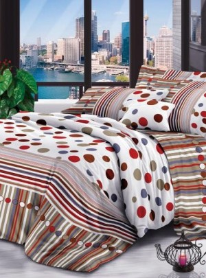 Queen Bedding Polka Dots And Stripes Set
