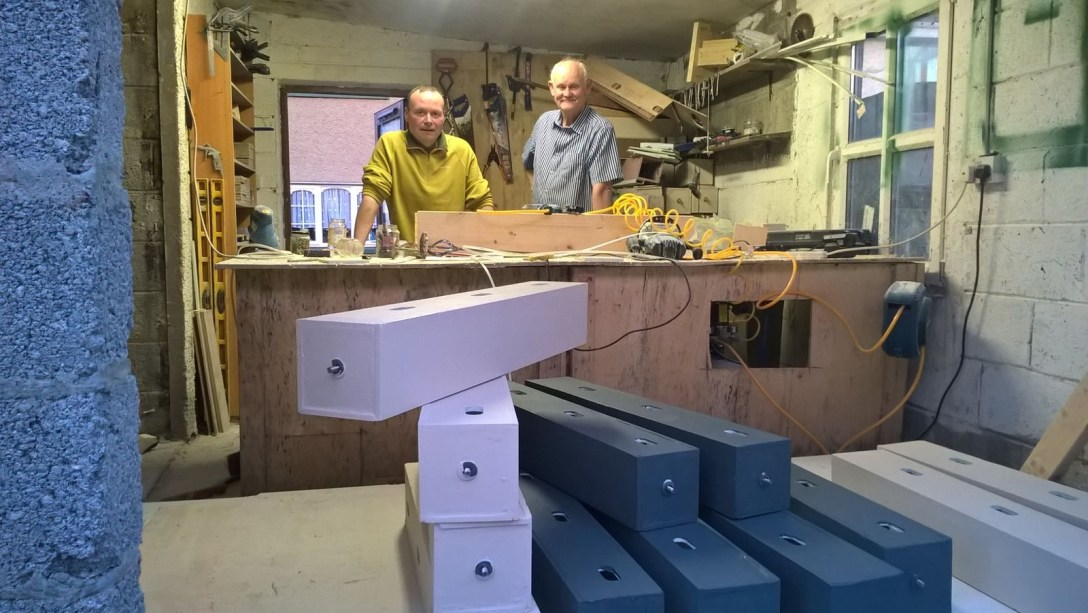 Stephan de Beer of Genesis Nest Boxes Ireland in his Workshop with Paddy Sheridan form Wild Kildare