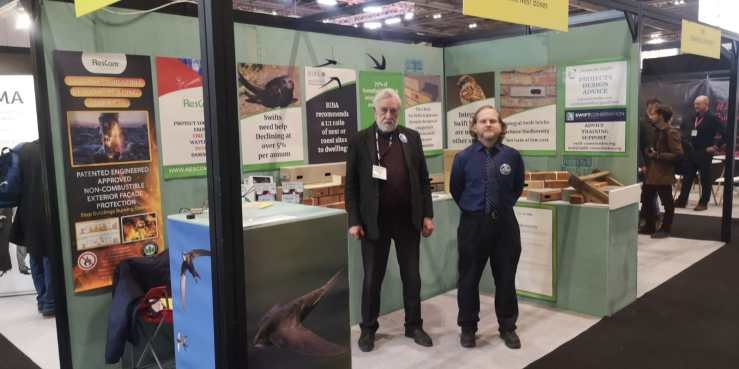 Two members of Action for Swifts at the Genesis Nest Box stand at the London Future Build Exhibition