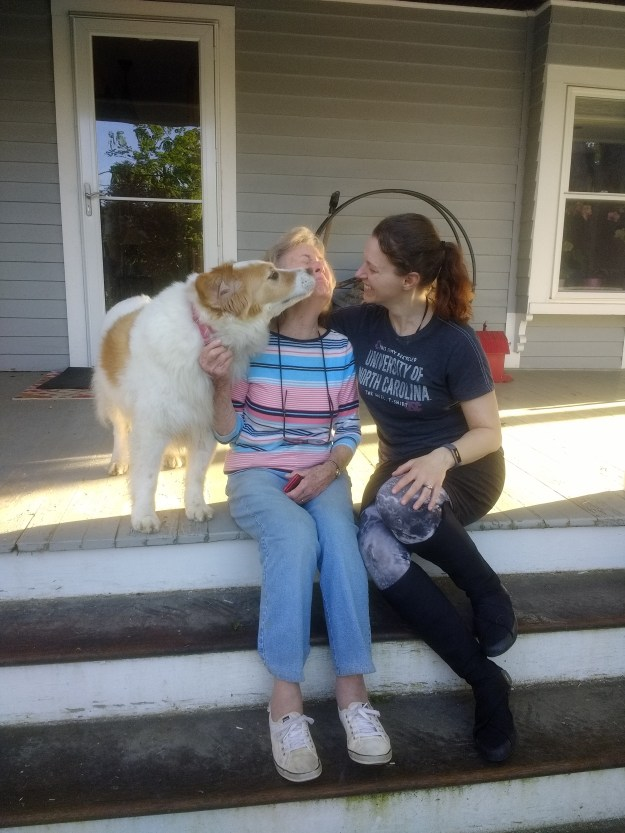 An older woman gets licked by a border collie while her friend laughs - Honoring Those Who Served