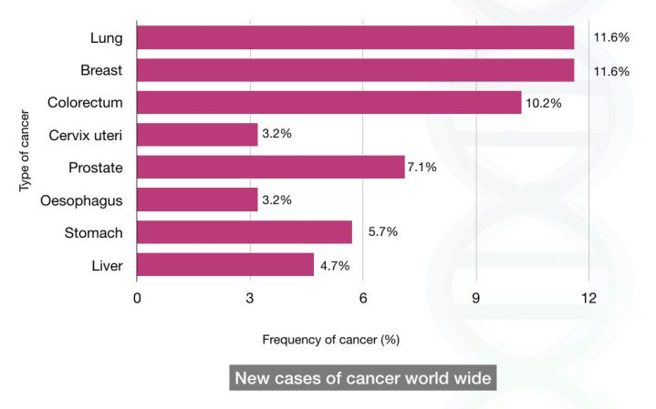 Worldwide prevalence of some common types of cancer
