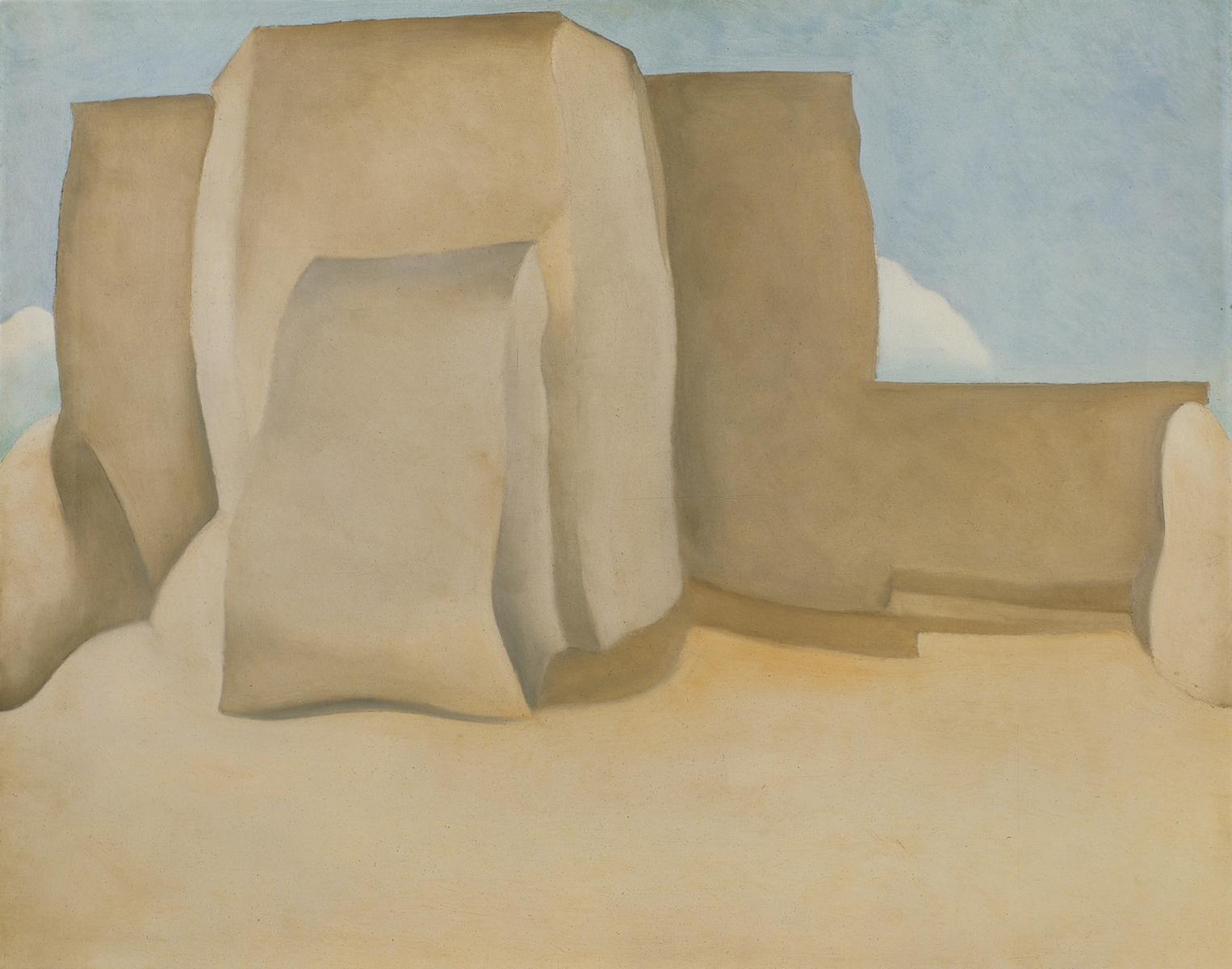 Georgia O'Keeffe, Ranchos Church No.1, 1929; oil on canvas; 18 3/4 x 24 in.; Collection of the Norton Museum of Art, West Palm Beach Florida; © 2009 Georgia O'Keeffe Museum/Artists Rights Society (ARS), New York.