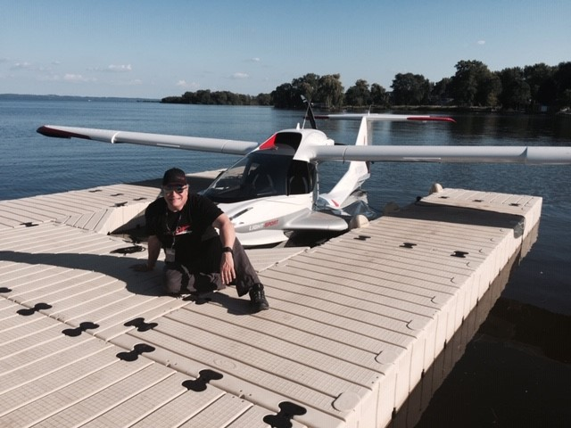 Gene Valentino and his Icon A5 docked in Pensacola FL close up and personal