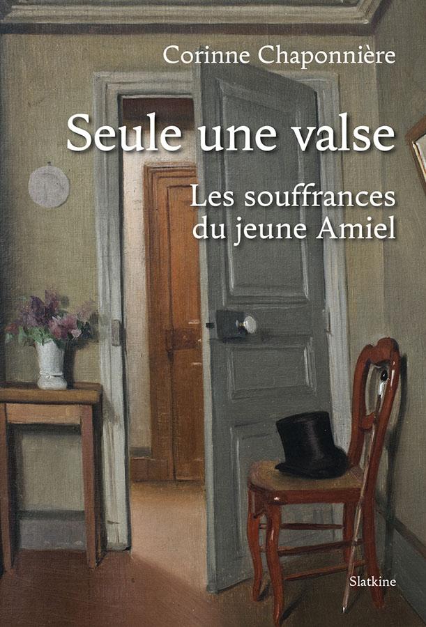 peinture d'une chambre porte ouverte vers un couloir, un chapeau haut-de-forme sur une chaise