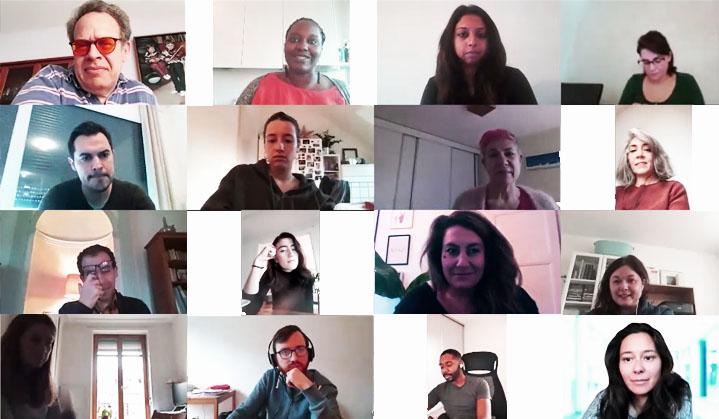 mosaïque de comédiens en vidéo-conférence