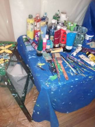 My paints and brushes all set up. What a mess.