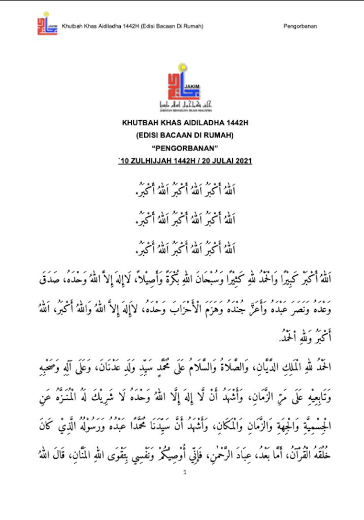 Khutbah Raya Haji di rumah 2