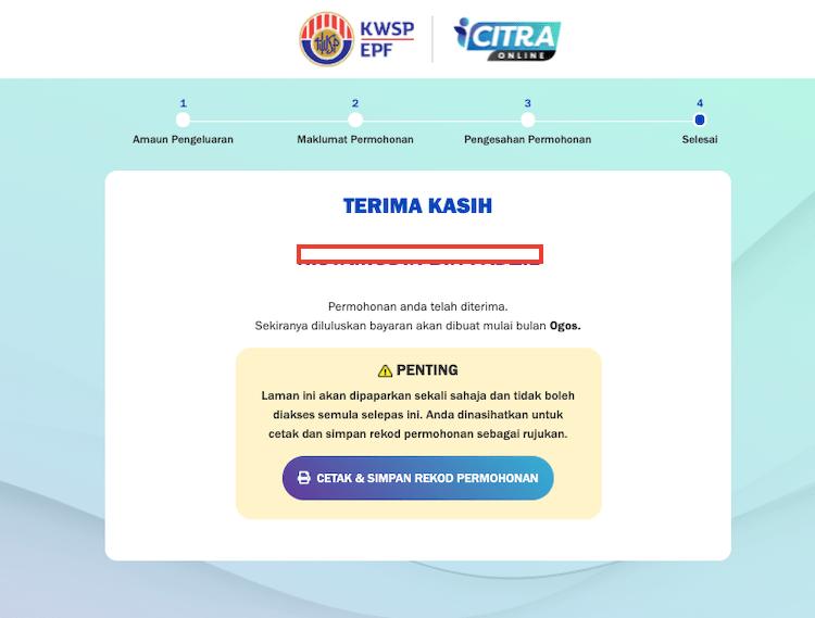 cara mohon i-Citra KWSP RM5000 online