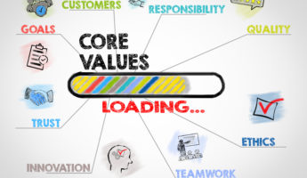 Core Values Concept. Chart with keywords and icons on gray background