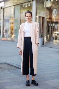 coat and top from Monki, pants from Urban Outfitters and shoes from & Other Stories