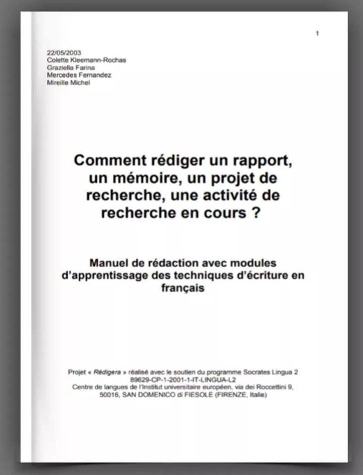 Comment rédiger un rapport ,un mémoire, un projet de recherche.