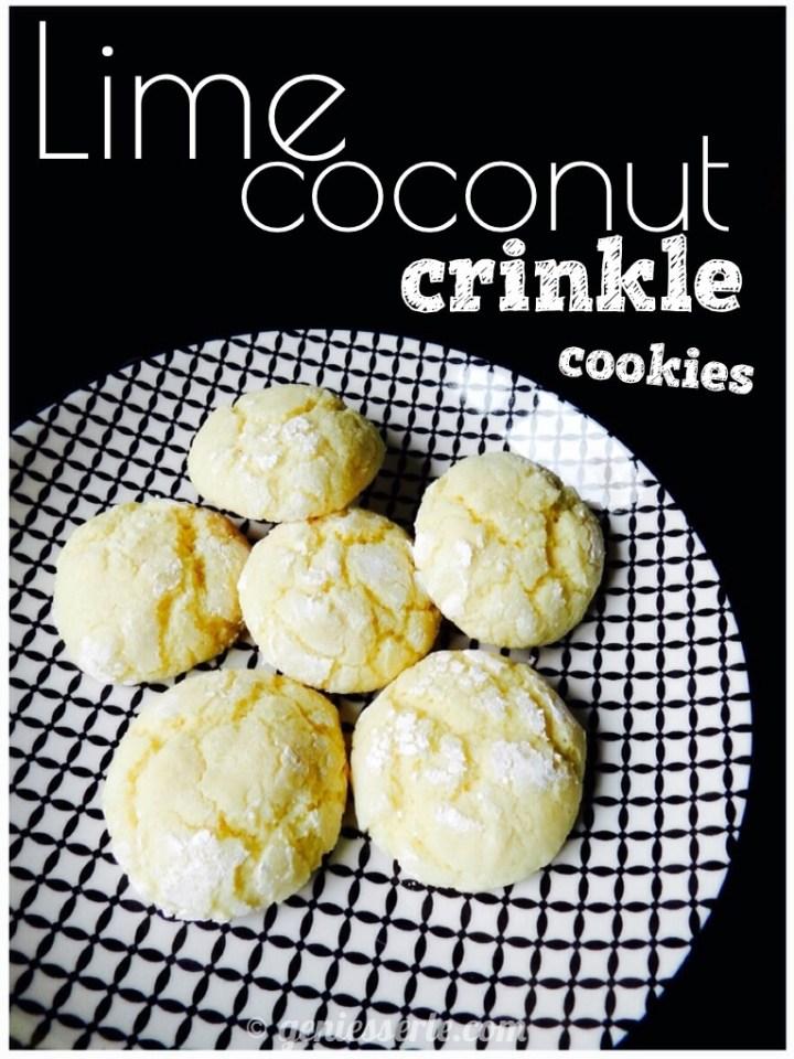Lime Coconut Crinkle Cookies