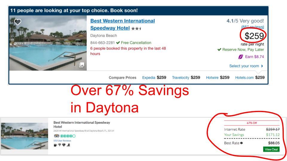 Huge savings on GenieTraveler.com for Daytona, FL