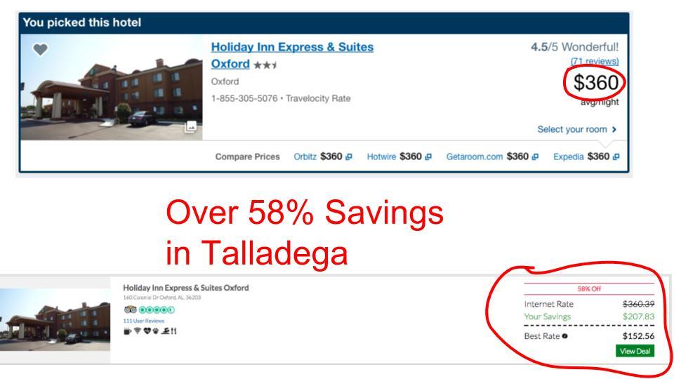 Huge savings on GenieTraveler.com for Talladega, AL