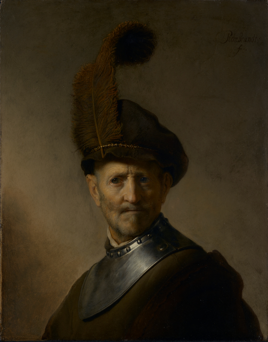 Rembrandt Harmensz. van Rijn (Dutch, 1606 - 1669) An Old Man in Military Costume, about 1630 - 1631, Oil on panel Unframed: 65.7 x 51.8 cm (25 7/8 x 20 3/8 in.) Framed: 94 x 79.7 x 5.7 cm (37 x 31 3/8 x 2 1/4 in.) The J. Paul Getty Museum, Los Angeles