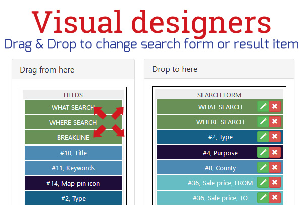 Visual search form builder