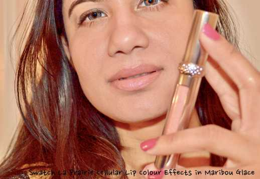 La Prairie Cellular Lip Colour Effect in Maribou Glace alone on lips
