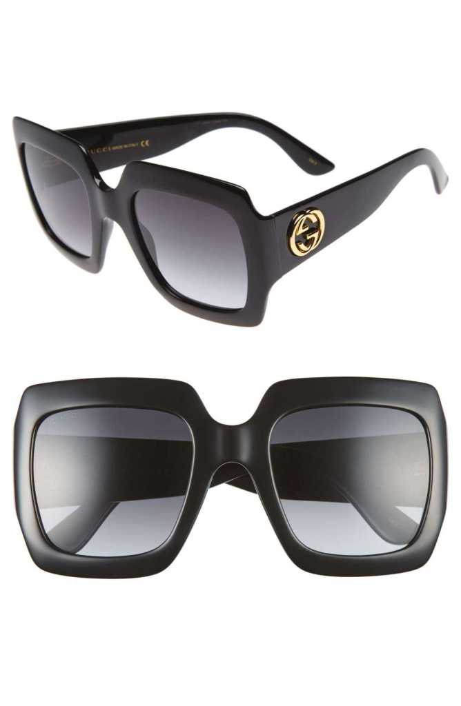 Gucci black color sunglasses front and side look