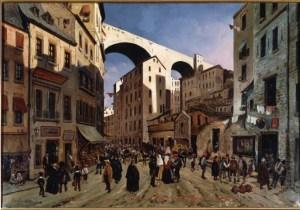 Strada della Madre d'Iddio e ponte di Carignano a Genova, 1847, dipinto. stampa 18x24 (G07.47.02), carige
