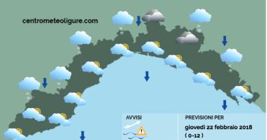 Meteo Limet: nevicate moderate nei settori interni e vento forte. Temperature in calo