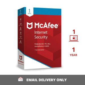 McAfee Internet Security – 1 User, 1 Year Activation Key (No CD)
