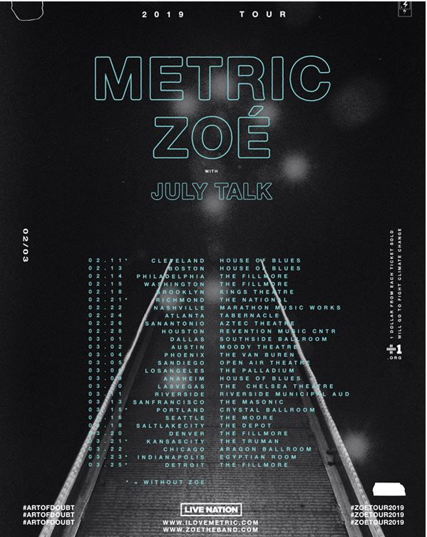 Metric Announce 2019 US Tour Dates - GENRE IS DEAD!