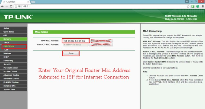 How to Configure Wifi Router-clone MAC address