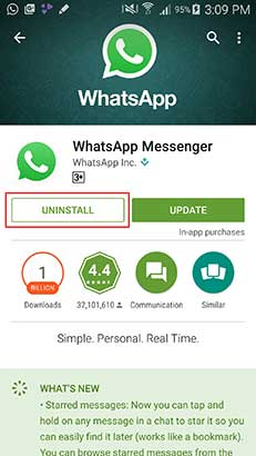 uninstall to Spy On Whatsapp Messages
