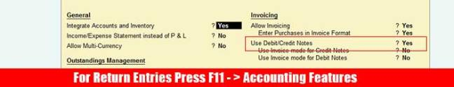 F11 Accounting voucher for Debit/credit note