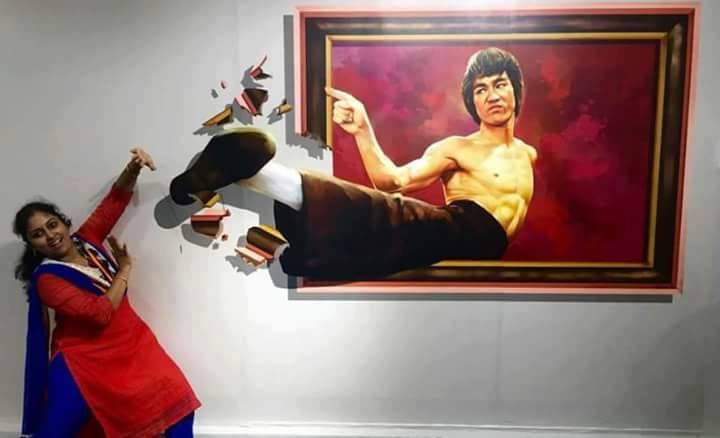 Live-3D-Painting-bruce-lee-kick