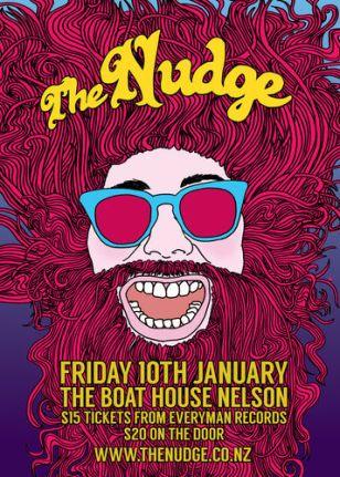 Poster of The Nudge band, Designer: Willie Devine. Design