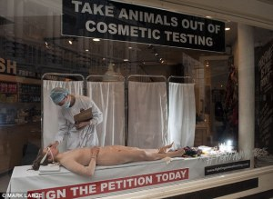 Lush Animal Testing Window performance, Regent Street, London. 2012. Source Daily UK article by Paul Harris. Photographer: Mark Large.